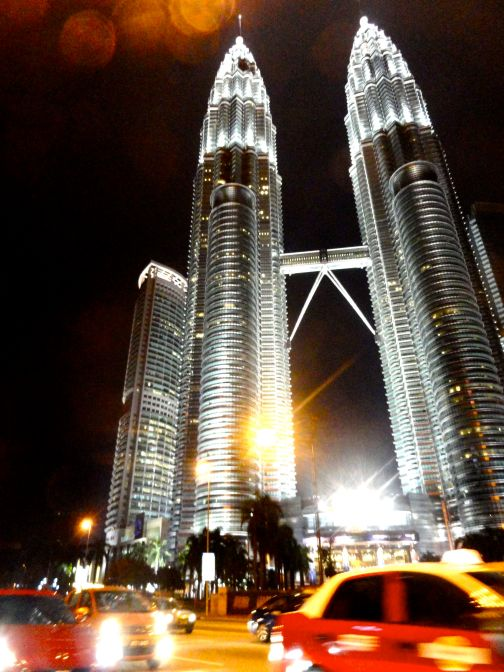 petronas towers and taxi april 2012