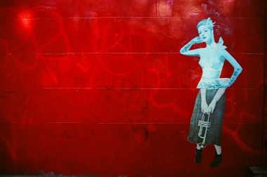 32 new york city trumpet lady mural pentax k1000