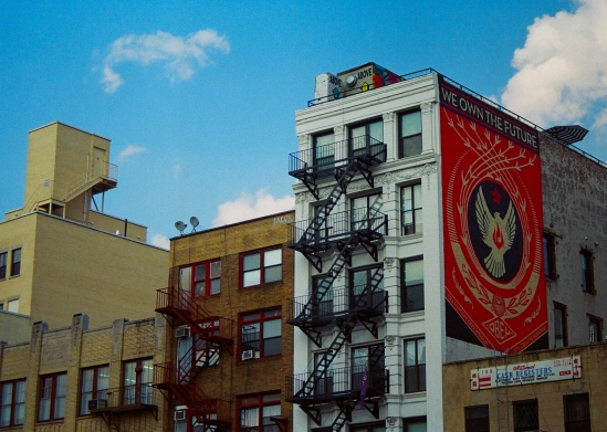 33 new york city we own the future obey mural pentax k1000