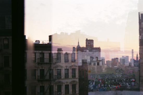 34 new york city skyline double exposure pentax k1000