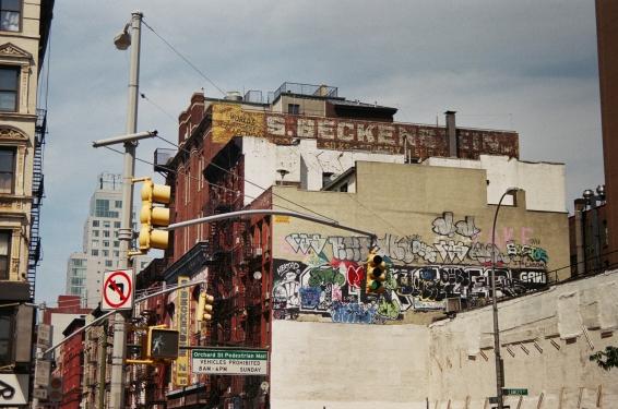 36 new york city orchard street pedestrian mall street art pentax k1000